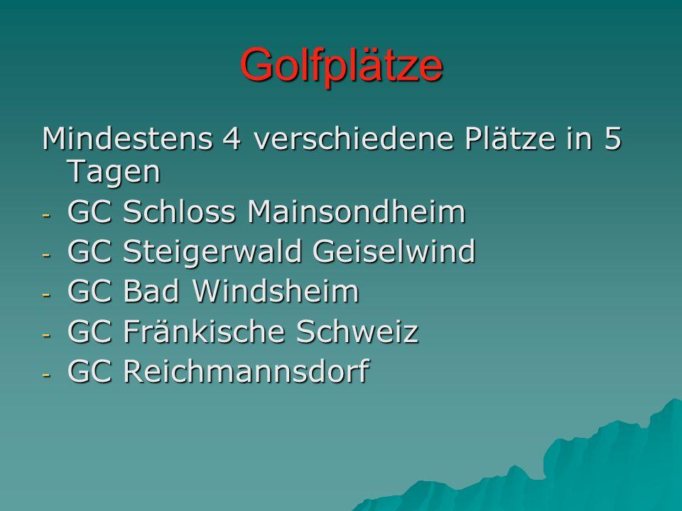 Golfplätze Mindestens 4 verschiedene Plätze in 5 Tagen - GC Schloss Mainsondheim - GC Steigerwald Geiselwind - GC Bad Windsheim - GC Fränkische Schweiz - GC Reichmannsdorf