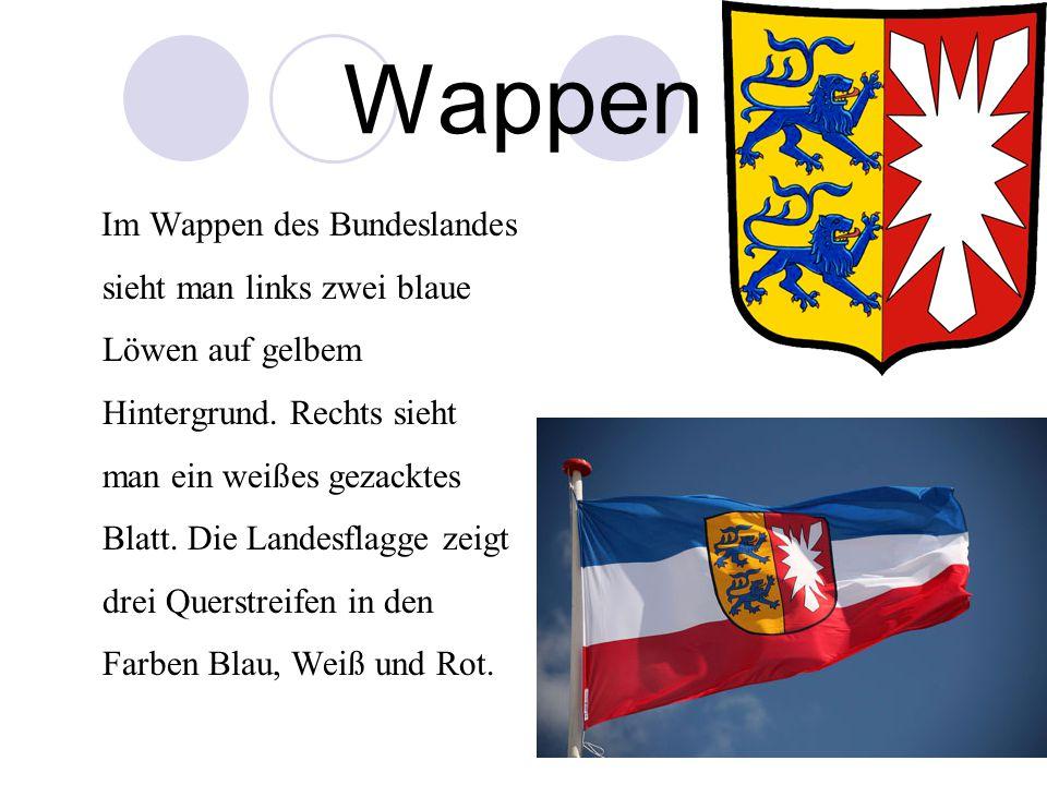 Wappen Im Wappen des Bundeslandes sieht man links zwei blaue Löwen auf gelbem Hintergrund. Rechts sieht man ein weißes gezacktes Blatt. Die Landesflag