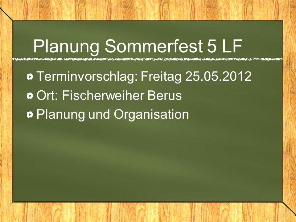 Planung Sommerfest 5 LF Terminvorschlag: Freitag 25.05.2012 Ort: Fischerweiher Berus Planung und Organisation
