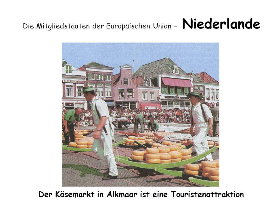 Die Mitgliedstaaten der Europäischen Union – Niederlande Der Käsemarkt in Alkmaar ist eine Touristenattraktion