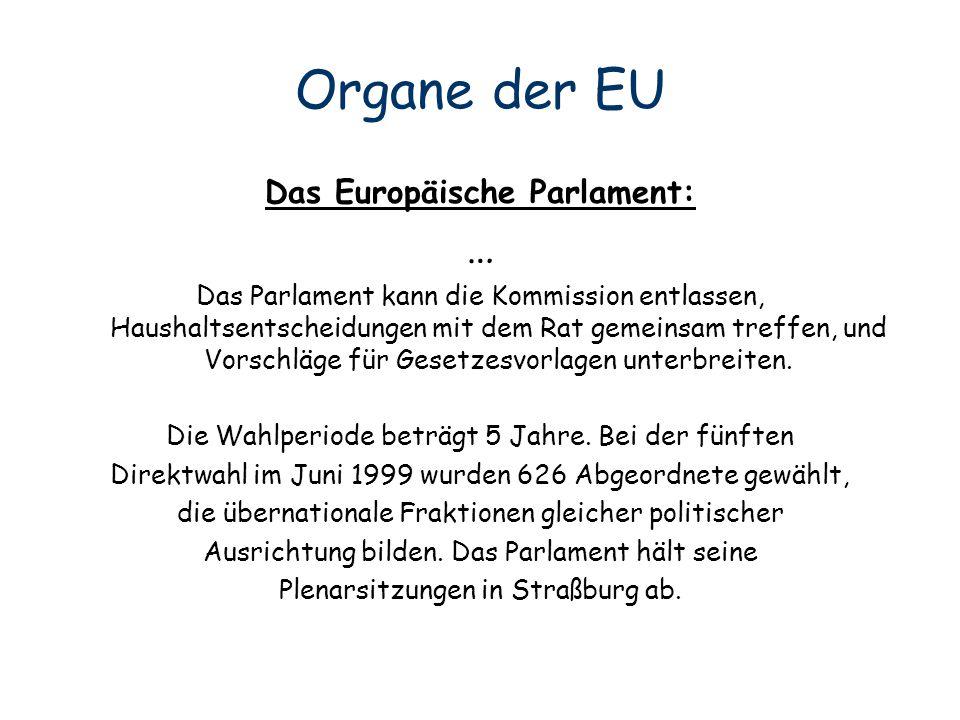 Organe der EU Das Europäische Parlament: … Das Parlament kann die Kommission entlassen, Haushaltsentscheidungen mit dem Rat gemeinsam treffen, und Vor