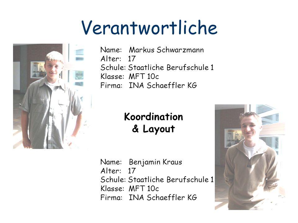 Verantwortliche Name: Markus Schwarzmann Alter: 17 Schule: Staatliche Berufschule 1 Klasse: MFT 10c Firma: INA Schaeffler KG Name: Benjamin Kraus Alte