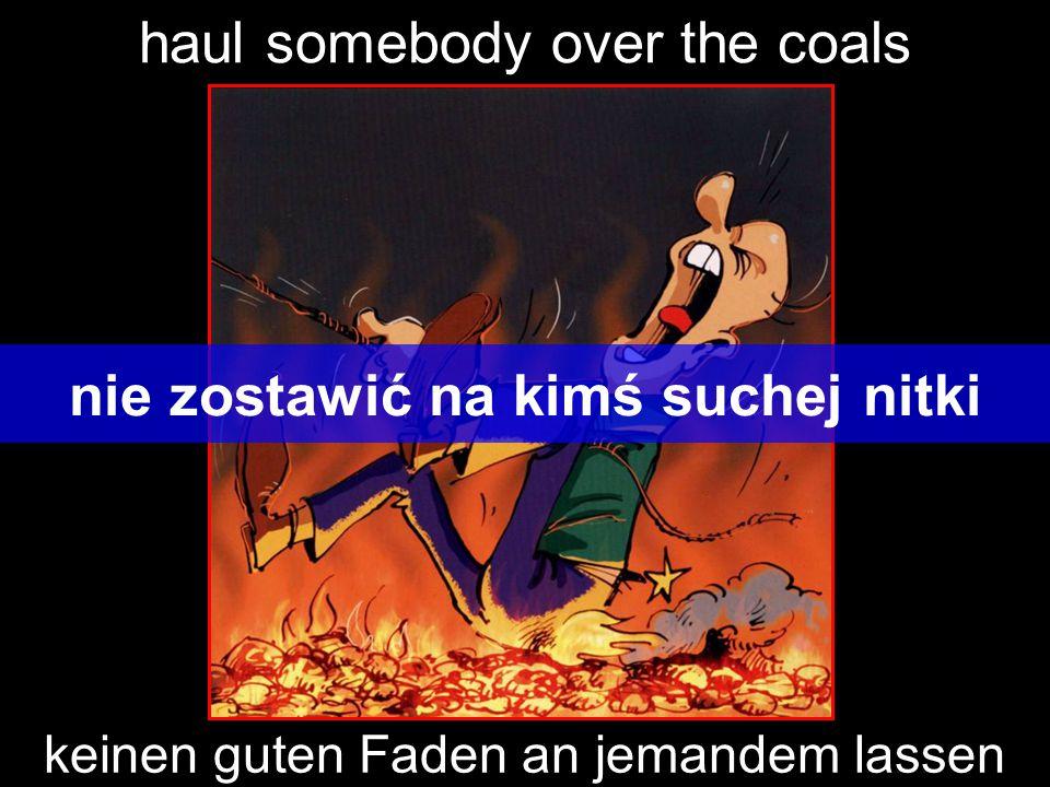 haul somebody over the coals nie zostawić na kimś suchej nitki keinen guten Faden an jemandem lassen