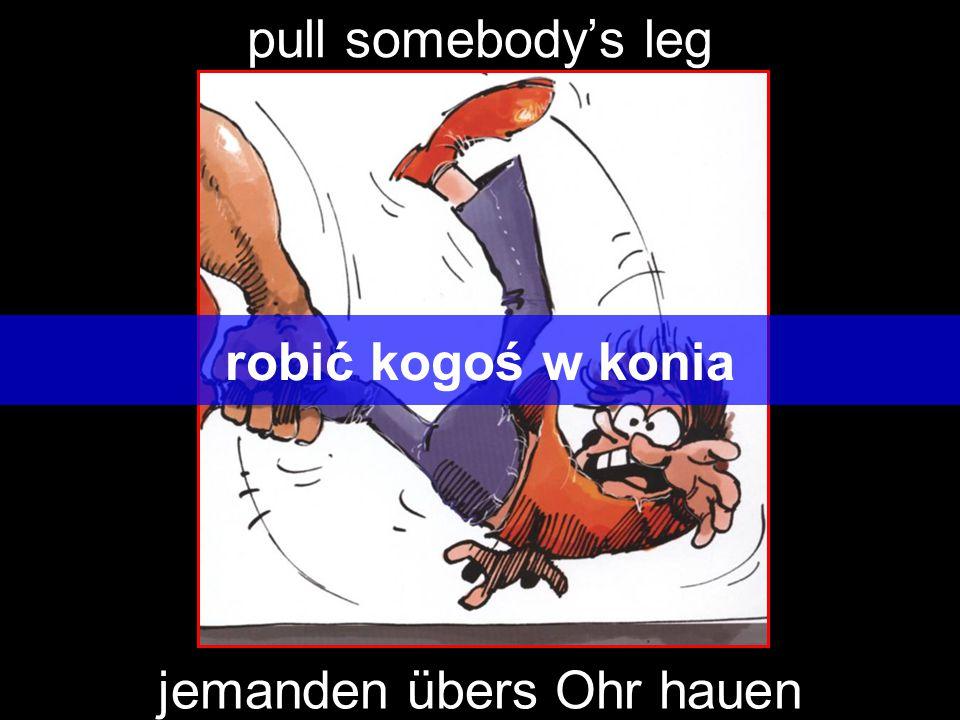 pull somebody's leg robić kogoś w konia jemanden übers Ohr hauen