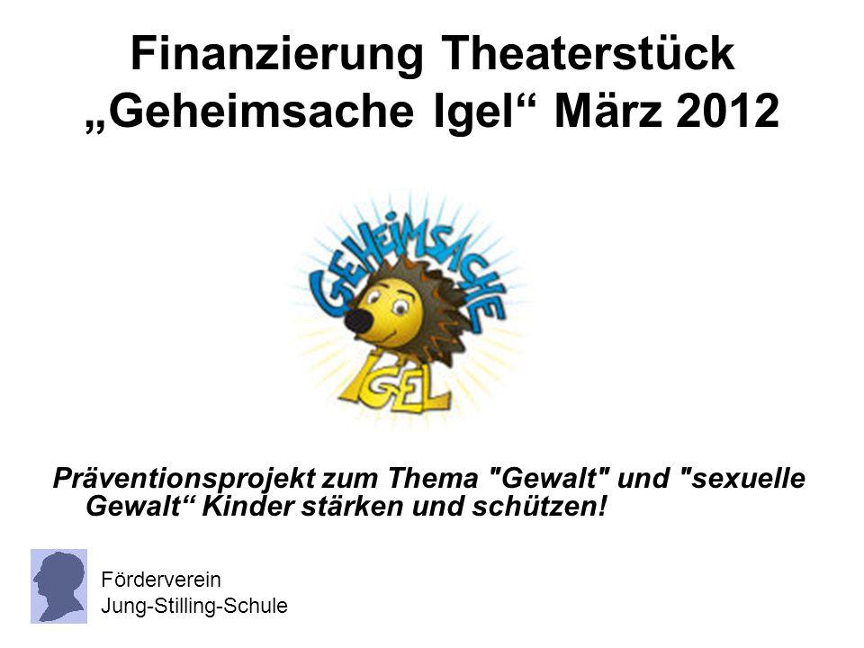 """Finanzierung Theaterstück """"Geheimsache Igel"""" März 2012 Präventionsprojekt zum Thema"""