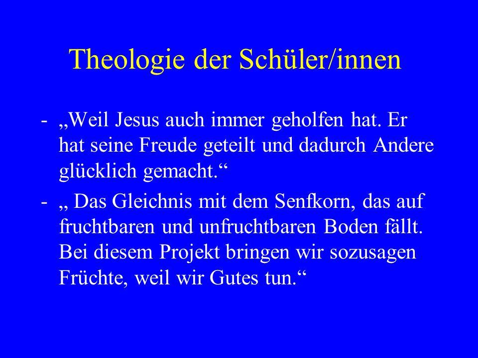 """Theologie der Schüler/innen -""""In der Bibel steht, dass man seinen Nächsten lieben soll und dem sozialen Umfeld das auch zeigen soll."""" -""""Helfe deinem N"""