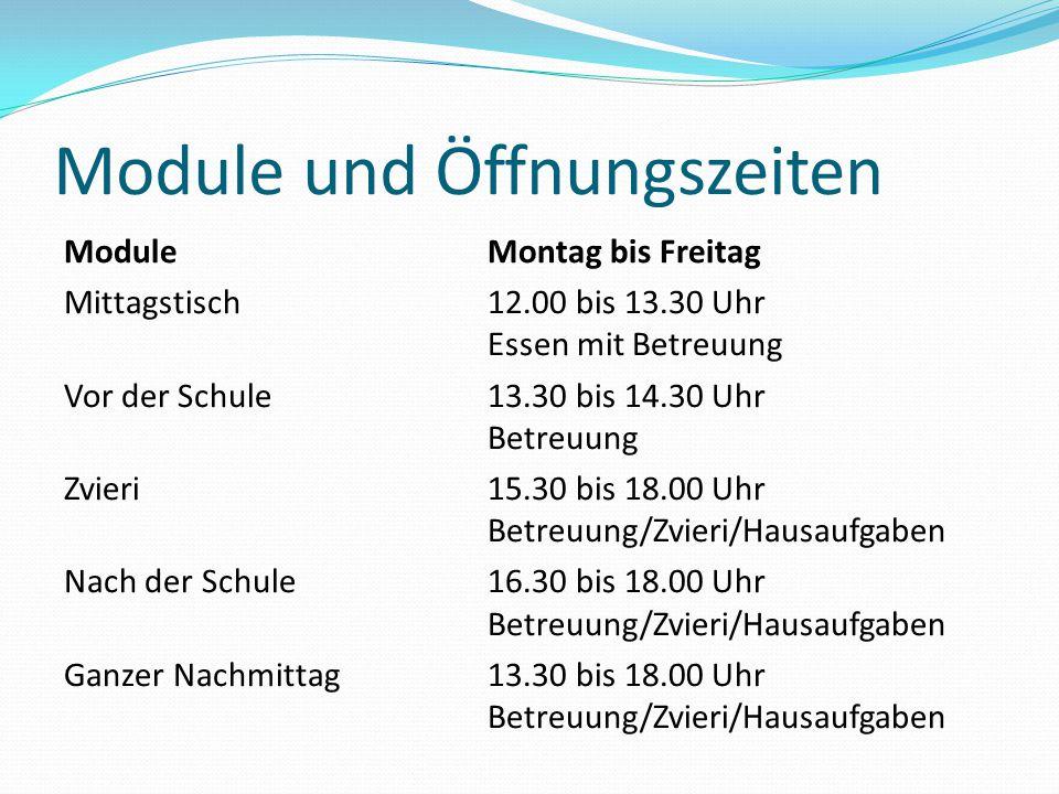 Module und Öffnungszeiten Module Montag bis Freitag Mittagstisch12.00 bis 13.30 Uhr Essen mit Betreuung Vor der Schule13.30 bis 14.30 Uhr Betreuung Zv