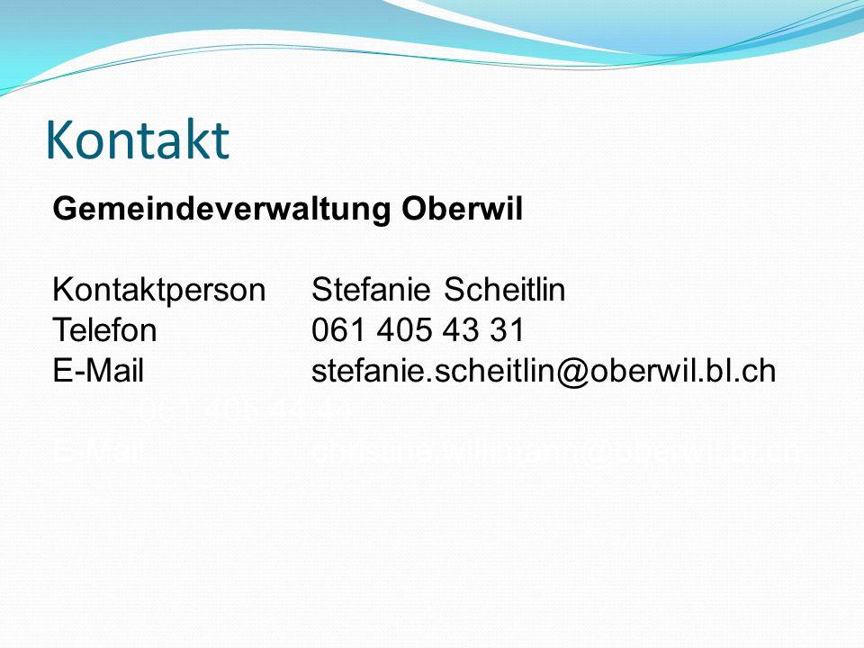Kontakt Gemeindeverwaltung Oberwil KontaktpersonStefanie Scheitlin Telefon 061 405 43 31 E-Mail stefanie.scheitlin@oberwil.bl.ch 061 405 44 44 E-Mail