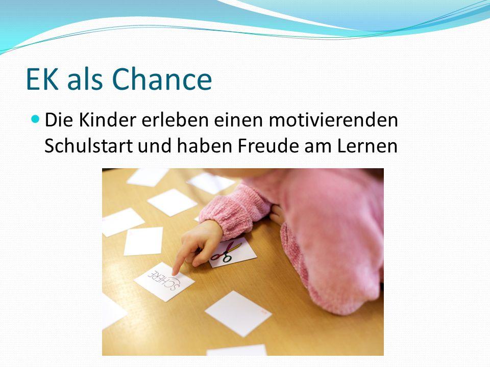 EK als Chance Die Kinder erleben einen motivierenden Schulstart und haben Freude am Lernen