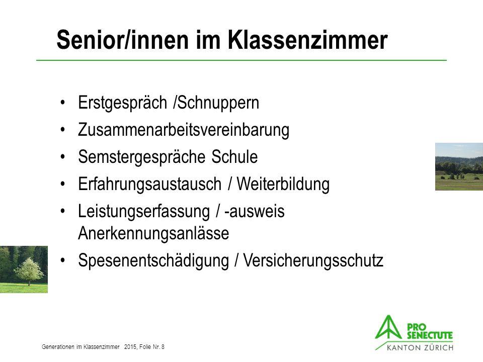Kooperation / Aufgabenteilung Freiwillige SchulePSZH Generationen im Klassenzimmer 2015, Folie Nr.