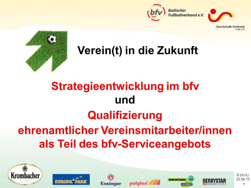 © bfv/Li 23.04.13 1 Strategieentwicklung im bfv und Qualifizierung ehrenamtlicher Vereinsmitarbeiter/innen als Teil des bfv-Serviceangebots Verein(t)