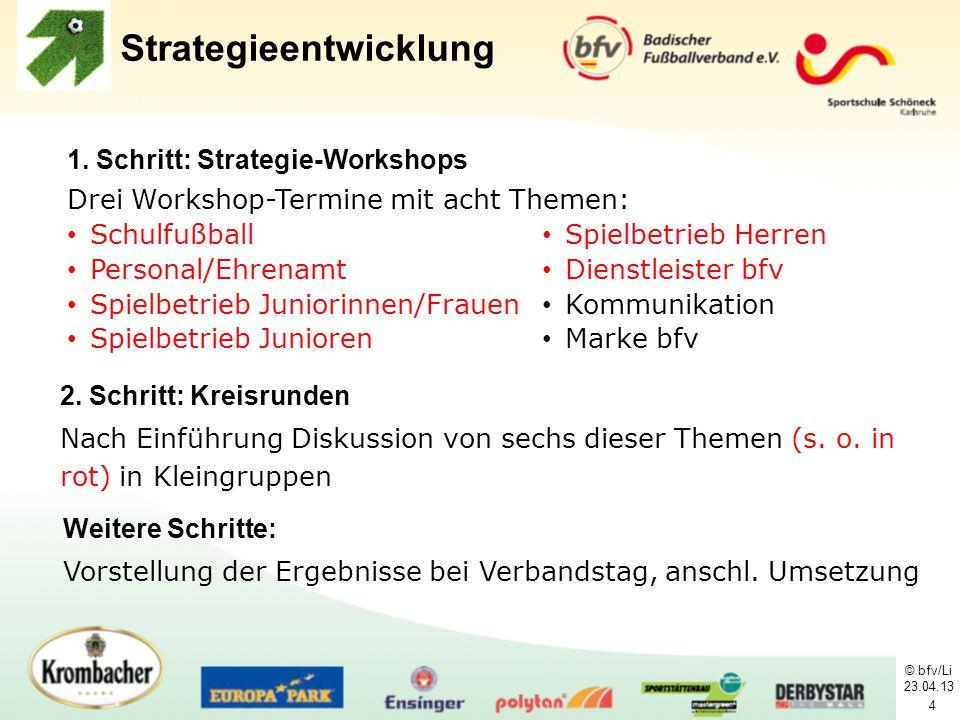 © bfv/Li 23.04.13 4 1. Schritt: Strategie-Workshops Drei Workshop-Termine mit acht Themen: Strategieentwicklung Schulfußball Personal/Ehrenamt Spielbe