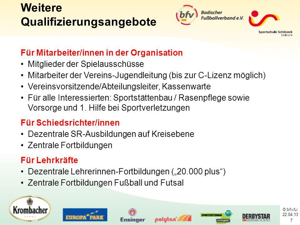 © bfv/Li 22.04.13 7 Für Mitarbeiter/innen in der Organisation Mitglieder der Spielausschüsse Mitarbeiter der Vereins-Jugendleitung (bis zur C-Lizenz m