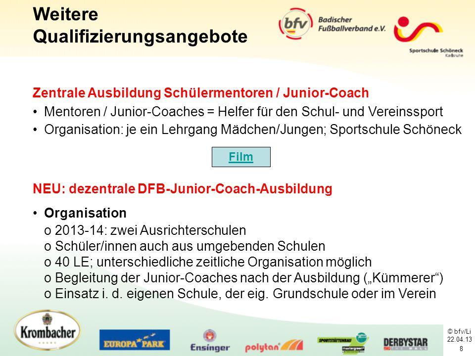 © bfv/Li 22.04.13 8 Zentrale Ausbildung Schülermentoren / Junior-Coach Mentoren / Junior-Coaches = Helfer für den Schul- und Vereinssport Organisation