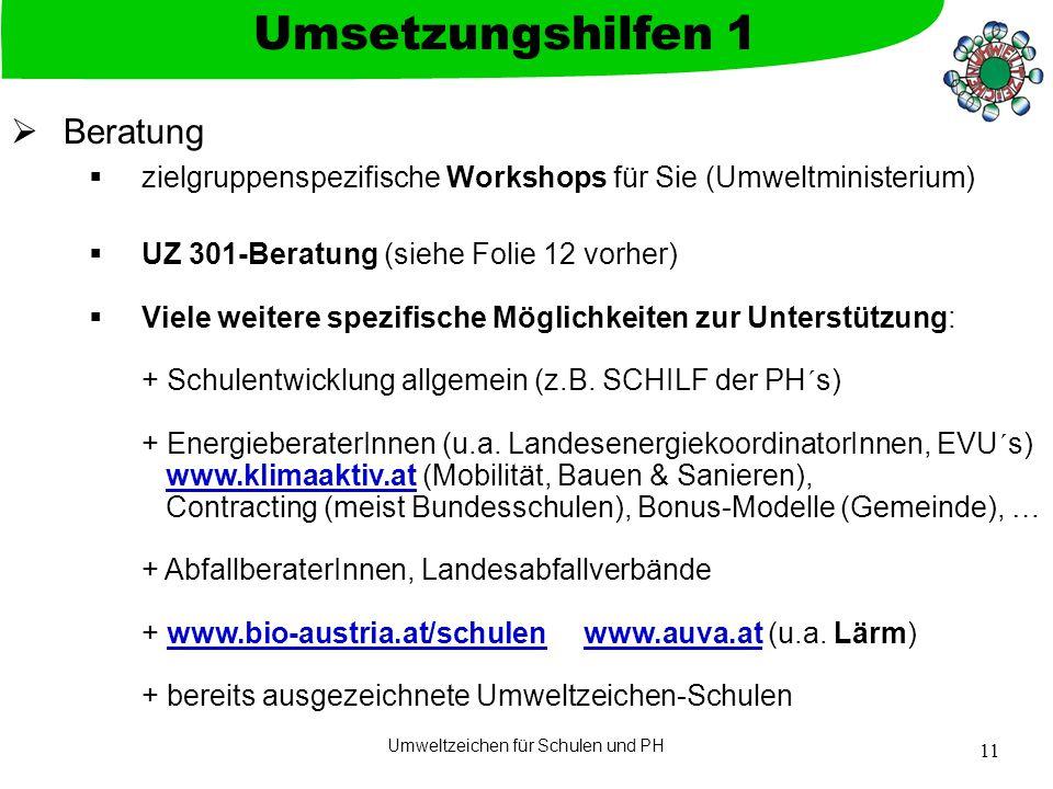 Umweltzeichen für Schulen und PH 11  Beratung  zielgruppenspezifische Workshops für Sie (Umweltministerium)  UZ 301-Beratung (siehe Folie 12 vorher