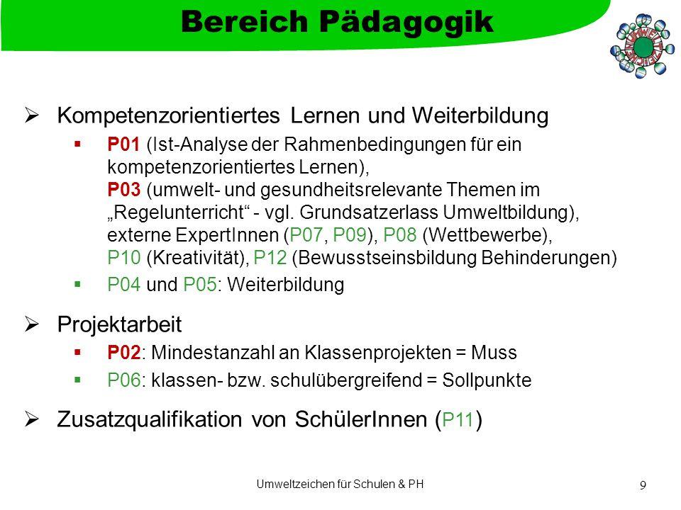 """Umweltzeichen für Schulen & PH 9  Kompetenzorientiertes Lernen und Weiterbildung  P01 (Ist-Analyse der Rahmenbedingungen für ein kompetenzorientiertes Lernen), P03 (umwelt- und gesundheitsrelevante Themen im """"Regelunterricht - vgl."""
