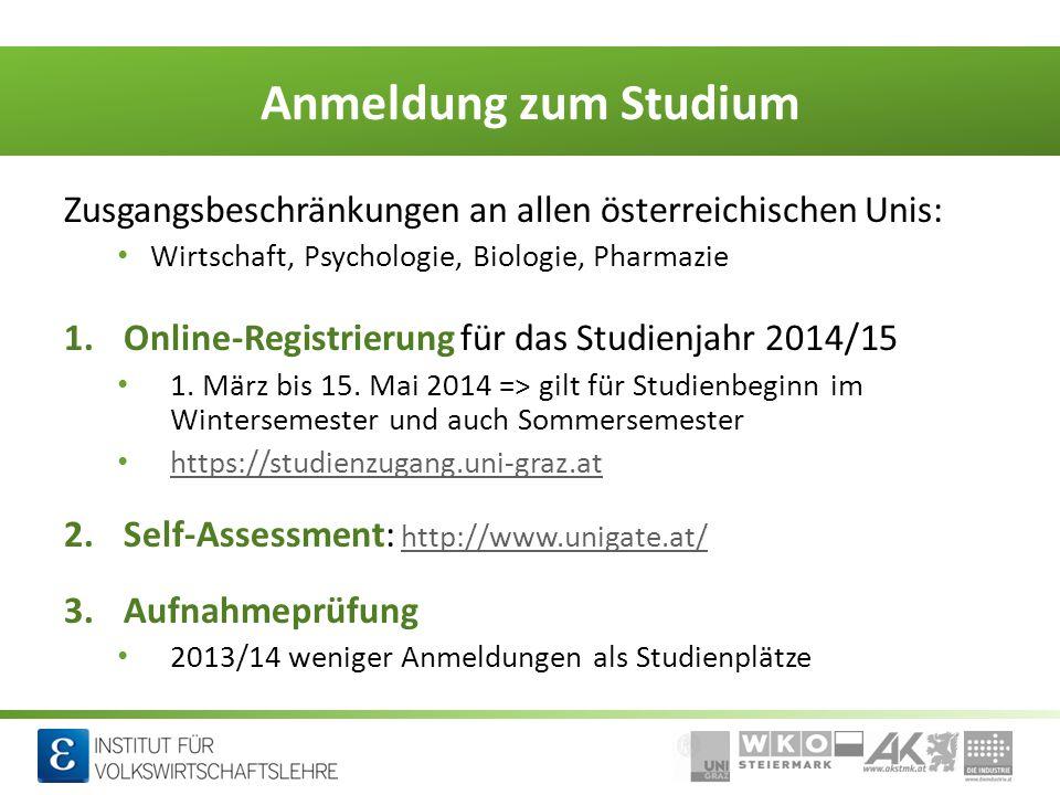 Wirtschaft macht Schule Anmeldung zum Studium Zusgangsbeschränkungen an allen österreichischen Unis: Wirtschaft, Psychologie, Biologie, Pharmazie 1.On