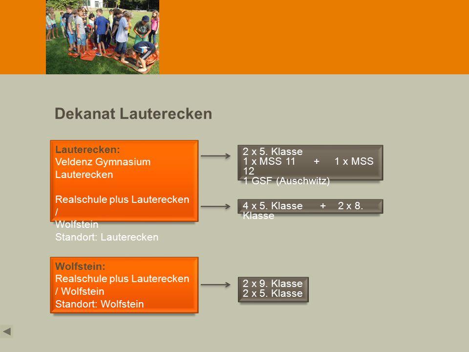 Dekanat Lauterecken Lauterecken: Veldenz Gymnasium Lauterecken Realschule plus Lauterecken / Wolfstein Standort: Lauterecken Wolfstein: Realschule plus Lauterecken / Wolfstein Standort: Wolfstein 2 x 5.