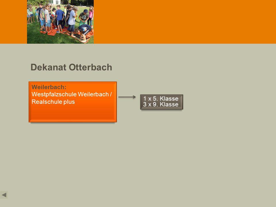 Dekanat Otterbach Weilerbach: Westpfalzschule Weilerbach / Realschule plus 1 x 5. Klasse 3 x 9. Klasse