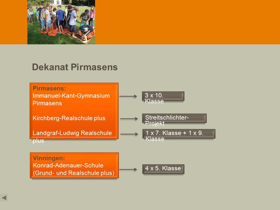 Dekanat Pirmasens Pirmasens: Immanuel-Kant-Gymnasium Pirmasens Kirchberg-Realschule plus Landgraf-Ludwig Realschule plus Vinningen: Konrad-Adenauer-Schule (Grund- und Realschule plus) 3 x 10.
