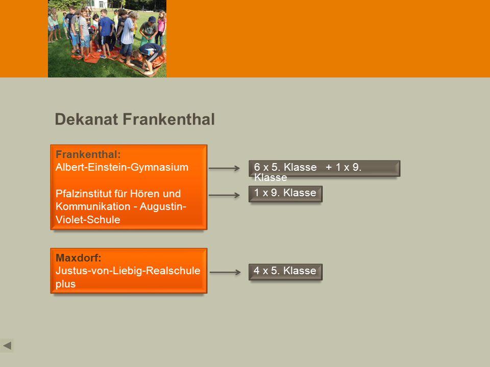 Dekanat Frankenthal Frankenthal: Albert-Einstein-Gymnasium Pfalzinstitut für Hören und Kommunikation - Augustin- Violet-Schule Maxdorf: Justus-von-Liebig-Realschule plus 6 x 5.