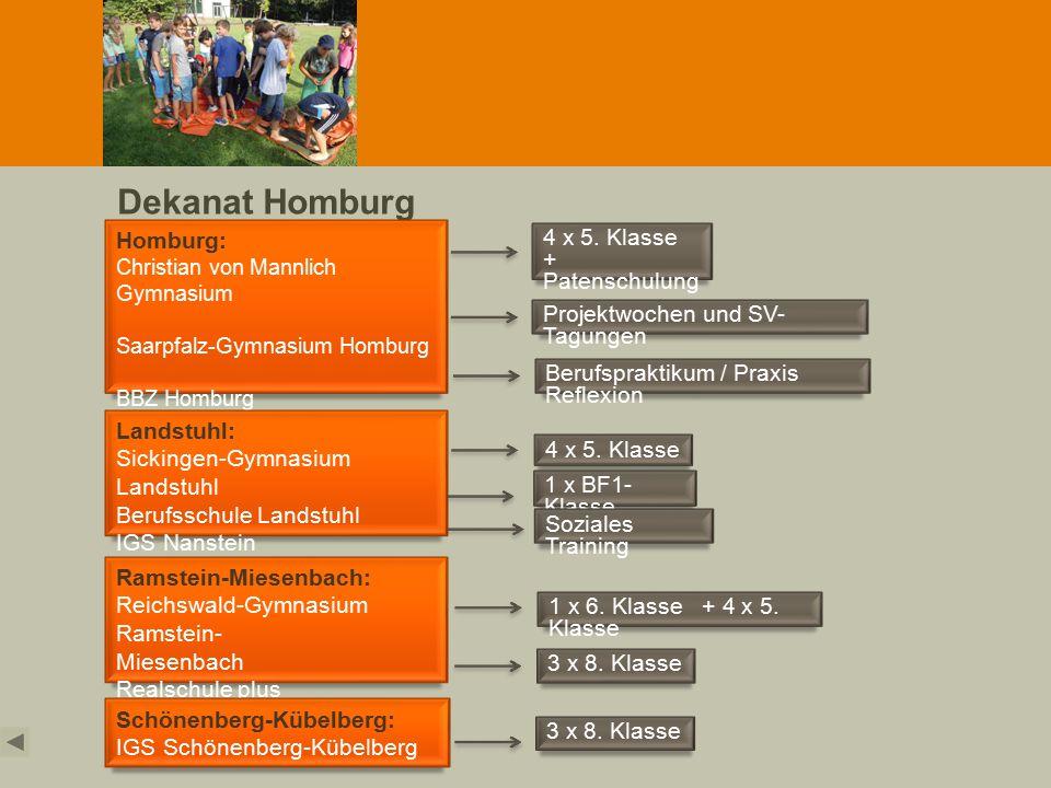 Dekanat Homburg Homburg: Christian von Mannlich Gymnasium Saarpfalz-Gymnasium Homburg BBZ Homburg Ramstein-Miesenbach: Reichswald-Gymnasium Ramstein-