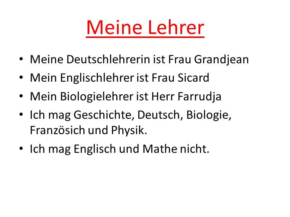Meine Lehrer Meine Deutschlehrerin ist Frau Grandjean Mein Englischlehrer ist Frau Sicard Mein Biologielehrer ist Herr Farrudja Ich mag Geschichte, Deutsch, Biologie, Französich und Physik.