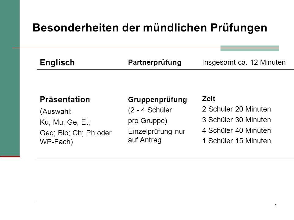 7 Besonderheiten der mündlichen Prüfungen Englisch PartnerprüfungInsgesamt ca. 12 Minuten Präsentation ( Auswahl: Ku; Mu; Ge; Et; Geo; Bio; Ch; Ph ode