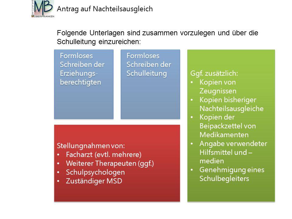Formloses Schreiben der Erziehungs- berechtigten Antrag auf Nachteilsausgleich Stellungnahmen von: Facharzt (evtl.