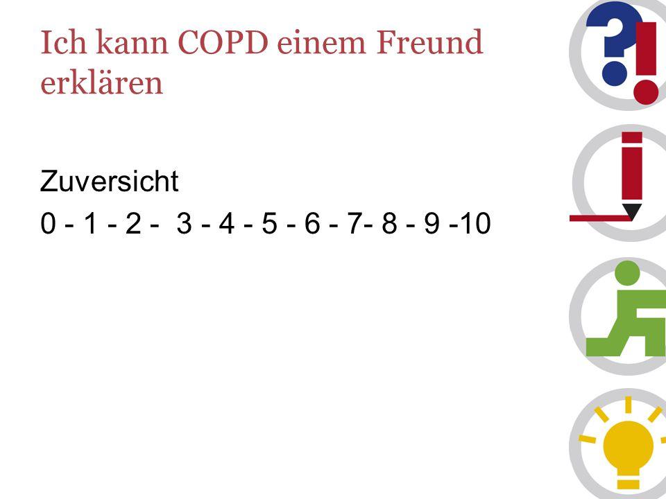 Ich kann COPD einem Freund erklären Zuversicht 0 - 1 - 2 - 3 - 4 - 5 - 6 - 7- 8 - 9 -10