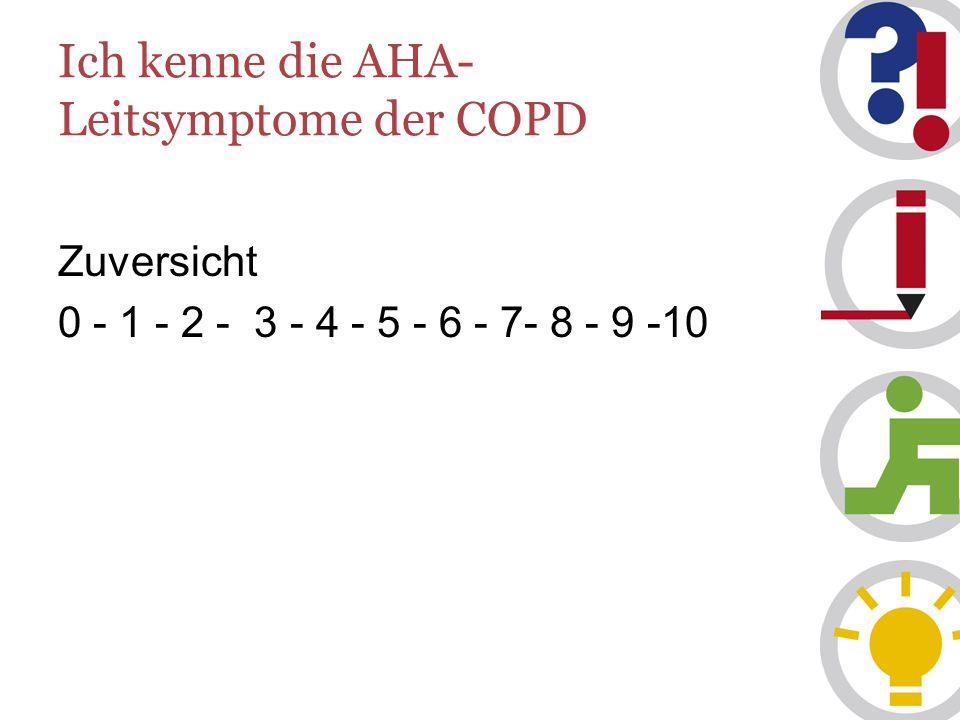 Ich kenne die AHA- Leitsymptome der COPD Zuversicht 0 - 1 - 2 - 3 - 4 - 5 - 6 - 7- 8 - 9 -10