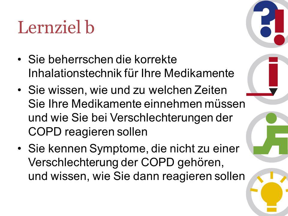 Lernziel b Sie beherrschen die korrekte Inhalationstechnik für Ihre Medikamente Sie wissen, wie und zu welchen Zeiten Sie Ihre Medikamente einnehmen müssen und wie Sie bei Verschlechterungen der COPD reagieren sollen Sie kennen Symptome, die nicht zu einer Verschlechterung der COPD gehören, und wissen, wie Sie dann reagieren sollen