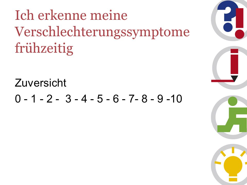 Ich erkenne meine Verschlechterungssymptome frühzeitig Zuversicht 0 - 1 - 2 - 3 - 4 - 5 - 6 - 7- 8 - 9 -10