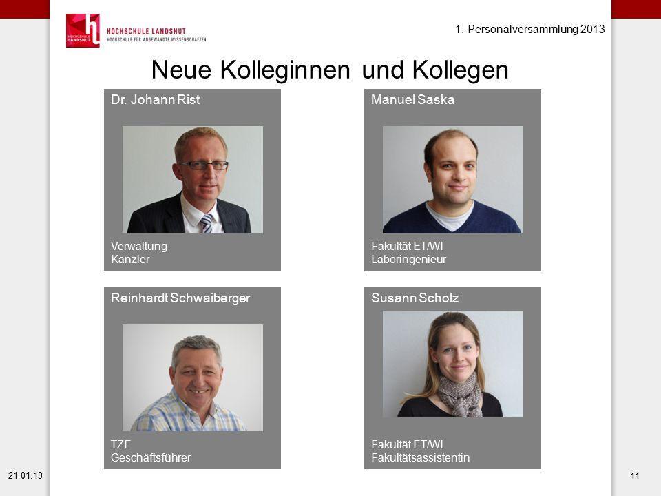 1. Personalversammlung 2013 21.01.13 11 Neue Kolleginnen und Kollegen Manuel Saska Fakultät ET/WI Laboringenieur Dr. Johann Rist Verwaltung Kanzler Re