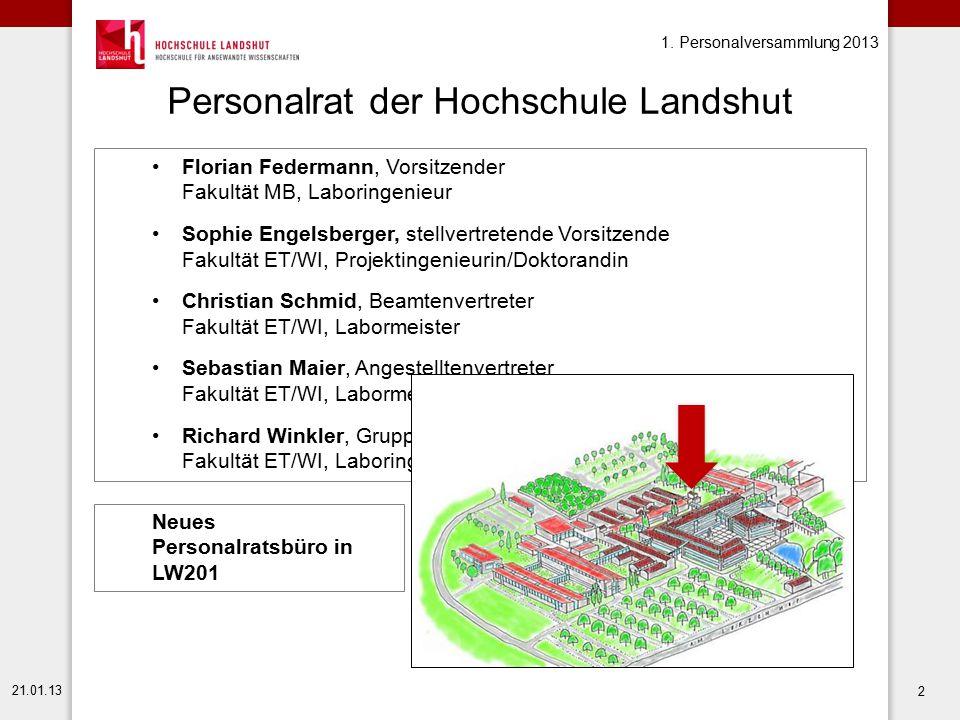1. Personalversammlung 2013 21.01.13 2 Personalrat der Hochschule Landshut Florian Federmann, Vorsitzender Fakultät MB, Laboringenieur Sophie Engelsbe