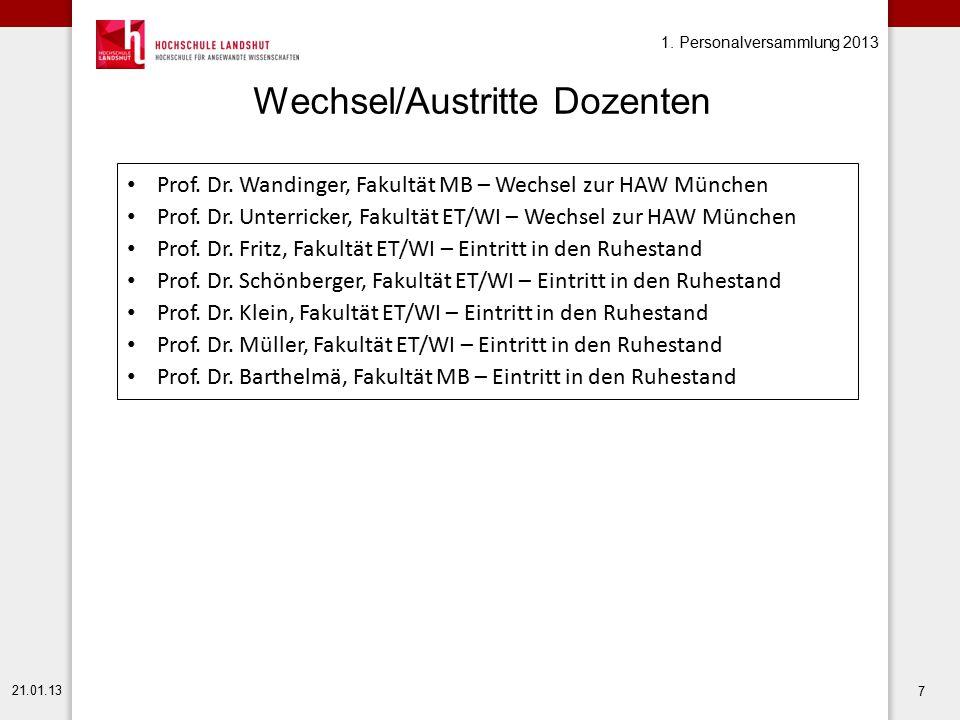 1. Personalversammlung 2013 21.01.13 7 Wechsel/Austritte Dozenten Prof. Dr. Wandinger, Fakultät MB – Wechsel zur HAW München Prof. Dr. Unterricker, Fa