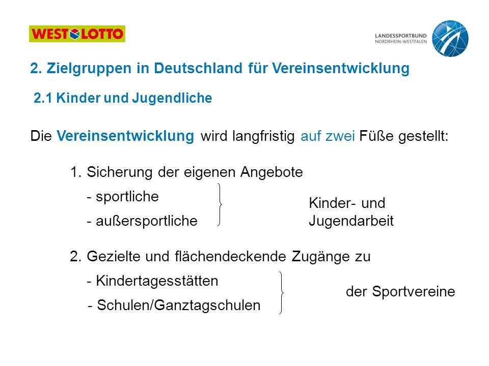 2. Zielgruppen in Deutschland für Vereinsentwicklung 2.1 Kinder und Jugendliche Die Vereinsentwicklung wird langfristig auf zwei Füße gestellt: 1. Sic