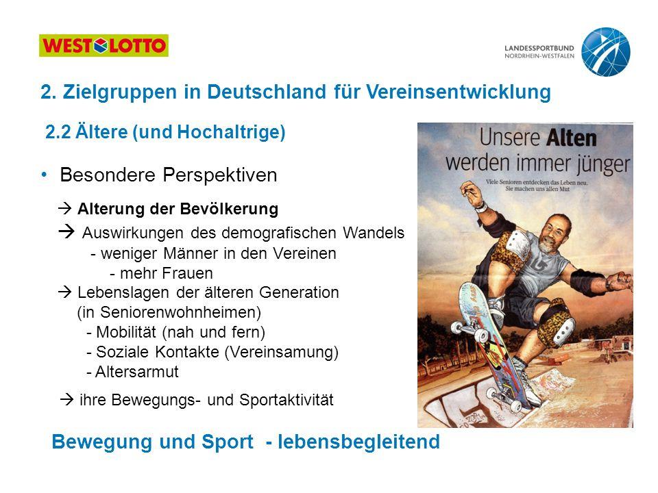 2. Zielgruppen in Deutschland für Vereinsentwicklung 2.2 Ältere (und Hochaltrige) Besondere Perspektiven  Alterung der Bevölkerung  Auswirkungen des