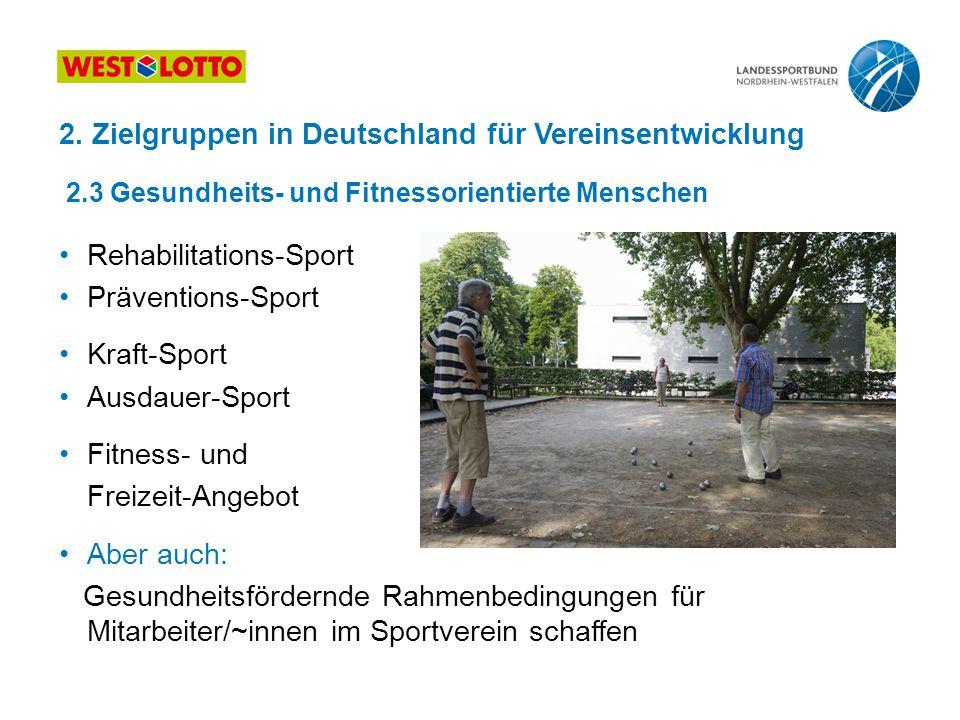 2. Zielgruppen in Deutschland für Vereinsentwicklung 2.3 Gesundheits- und Fitnessorientierte Menschen Rehabilitations-Sport Präventions-Sport Kraft-Sp
