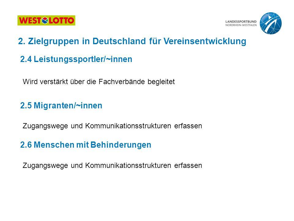 Zugangswege und Kommunikationsstrukturen erfassen 2. Zielgruppen in Deutschland für Vereinsentwicklung 2.4 Leistungssportler/~innen 2.5 Migranten/~inn