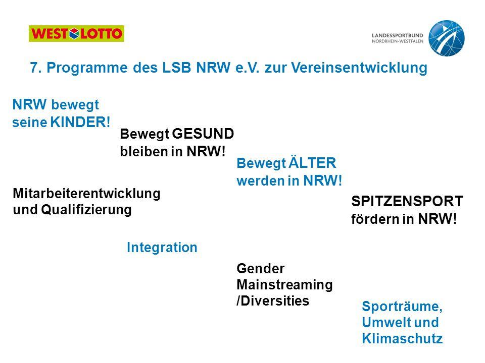 NRW bewegt seine KINDER! Bewegt GESUND bleiben in NRW! Bewegt ÄLTER werden in NRW! SPITZENSPORT fördern in NRW! Mitarbeiterentwicklung und Qualifizier