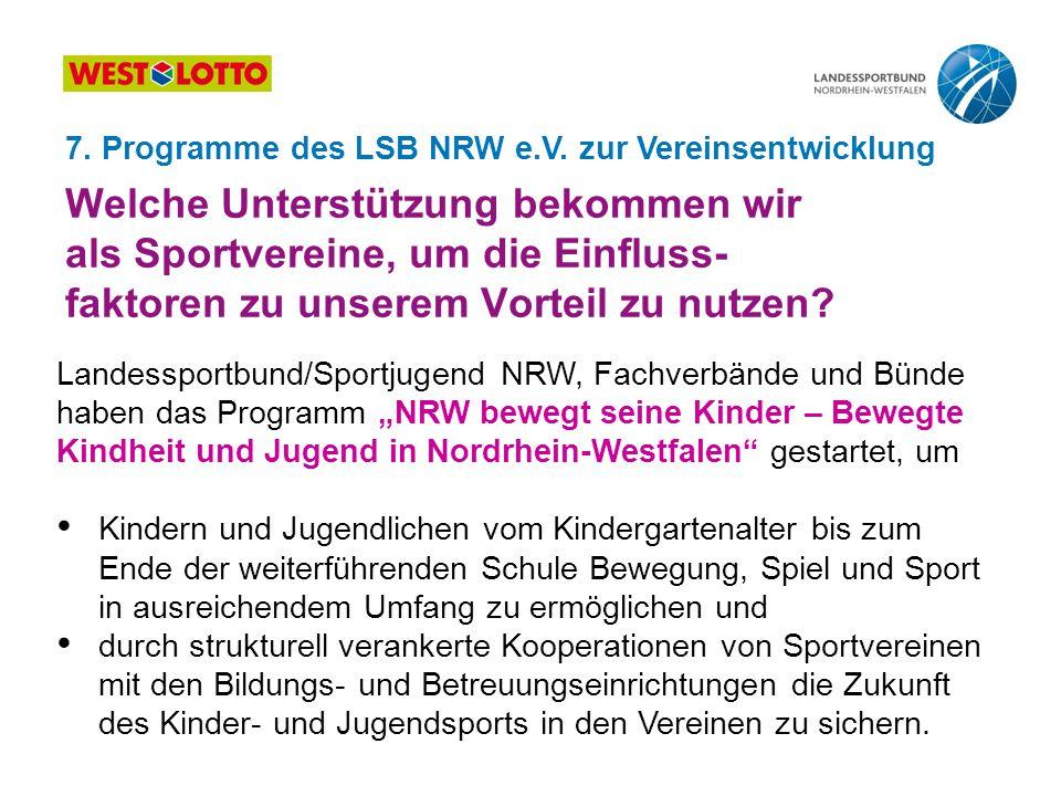 Welche Unterstützung bekommen wir als Sportvereine, um die Einfluss- faktoren zu unserem Vorteil zu nutzen? Landessportbund/Sportjugend NRW, Fachverbä