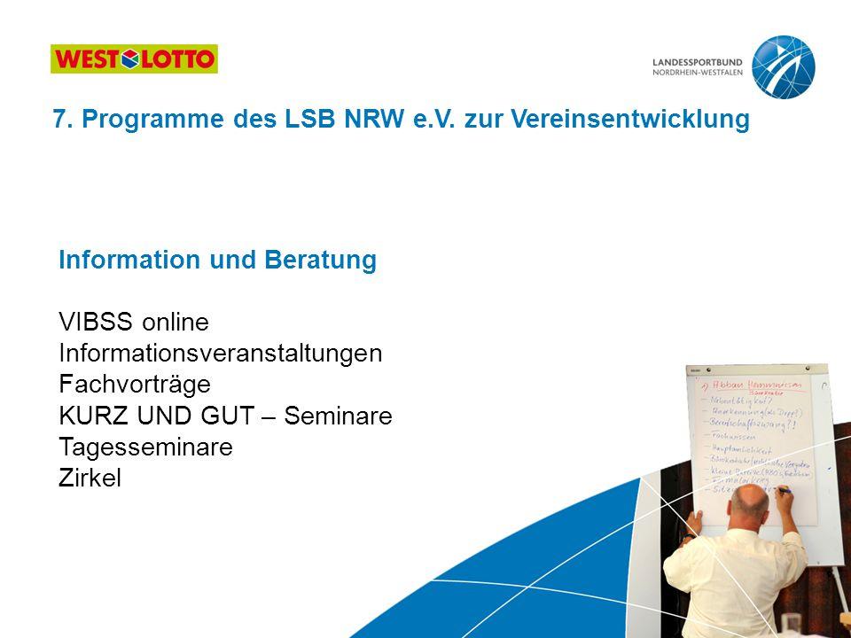 Information und Beratung VIBSS online Informationsveranstaltungen Fachvorträge KURZ UND GUT – Seminare Tagesseminare Zirkel