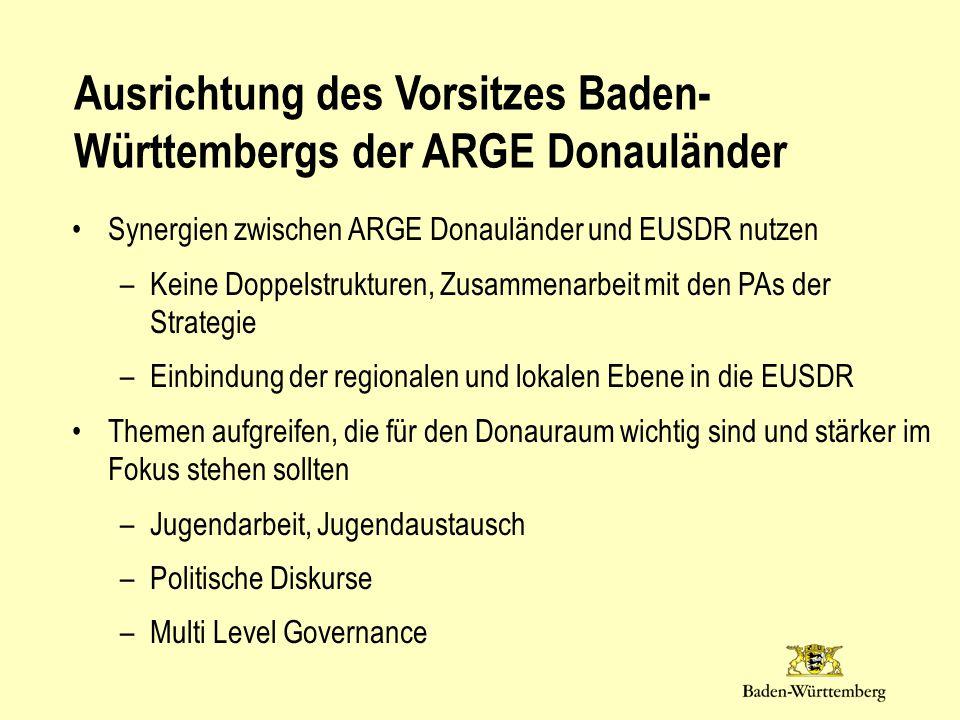 Synergien zwischen ARGE Donauländer und EUSDR nutzen –Keine Doppelstrukturen, Zusammenarbeit mit den PAs der Strategie –Einbindung der regionalen und lokalen Ebene in die EUSDR Themen aufgreifen, die für den Donauraum wichtig sind und stärker im Fokus stehen sollten –Jugendarbeit, Jugendaustausch –Politische Diskurse –Multi Level Governance Ausrichtung des Vorsitzes Baden- Württembergs der ARGE Donauländer