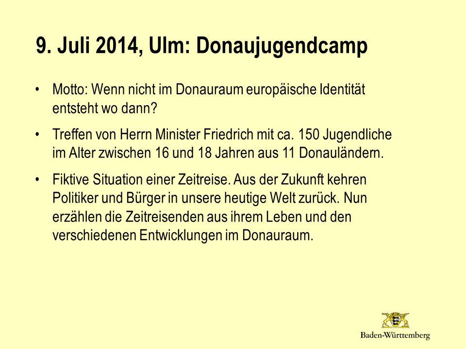 Motto: Wenn nicht im Donauraum europäische Identität entsteht wo dann? Treffen von Herrn Minister Friedrich mit ca. 150 Jugendliche im Alter zwischen
