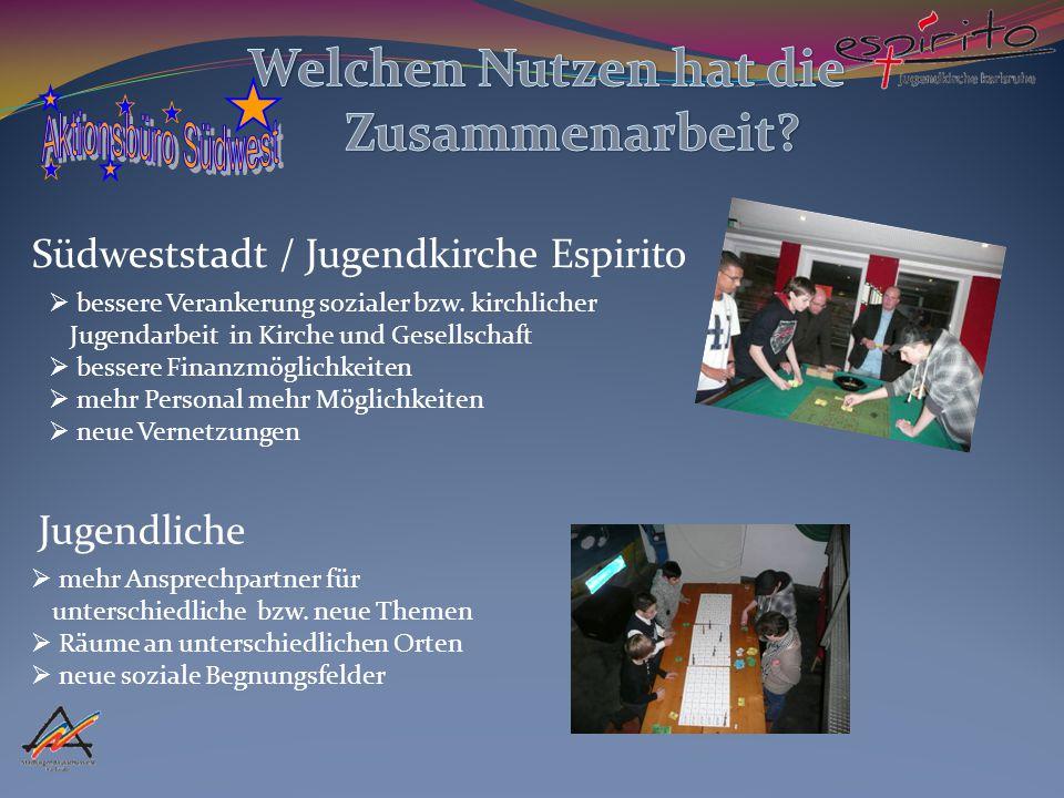 Südweststadt / Jugendkirche Espirito Jugendliche  mehr Ansprechpartner für unterschiedliche bzw.