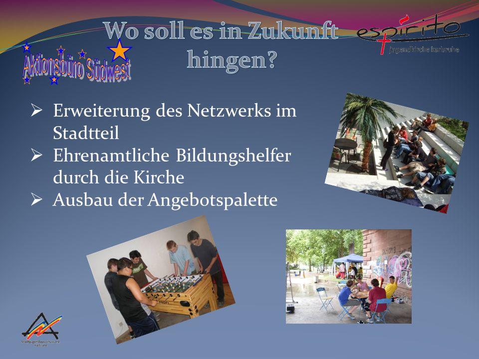  Erweiterung des Netzwerks im Stadtteil  Ehrenamtliche Bildungshelfer durch die Kirche  Ausbau der Angebotspalette