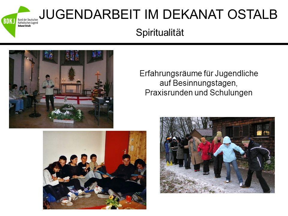 JUGENDARBEIT IM DEKANAT OSTALB Spiritualität Erfahrungsräume für Jugendliche auf Besinnungstagen, Praxisrunden und Schulungen