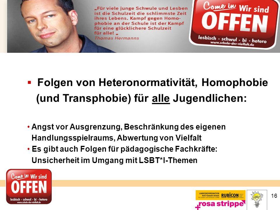 16  Folgen von Heteronormativität, Homophobie (und Transphobie) für alle Jugendlichen: Angst vor Ausgrenzung, Beschränkung des eigenen Handlungsspiel