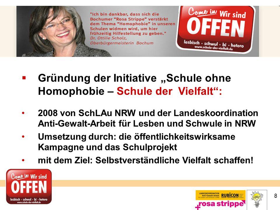 """8  Gründung der Initiative """"Schule ohne Homophobie – Schule der Vielfalt"""": 2008 von SchLAu NRW und der Landeskoordination Anti-Gewalt-Arbeit für Lesb"""